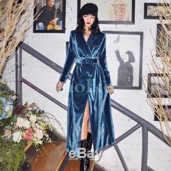 2018 Spring Womens Velvet Full Length Belt Slim Fit double-breasted Party Dress