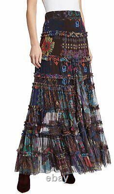 $310 Johnny Was Rare Malynda Mesh Maxi Skirt Sz Small Fits Medium Large New