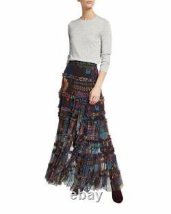 $310 Johnny Was Rare Malynda Tiered Mesh Maxi Skirt Sz Large Fits XL Too New