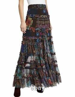 $310 Johnny Was Rare Malynda Tiered Mesh Maxi Skirt Sz Small Fits Medium Too