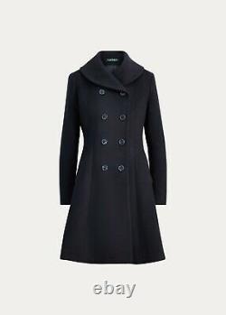 $330 LAUREN RALPH LAUREN Wool Fit-and-Flare Coat FEMININE WARM REGAL NAVY CHIC