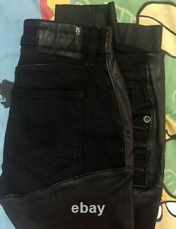 $845 R13 LEATHER CHAPS Jeans Stretch Skinny size 26 fit like 28 made in Italy