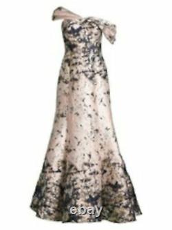 AIDAN MATTOX Womens Beige Printed Full-Length Fit + Flare Formal Dress Size 14