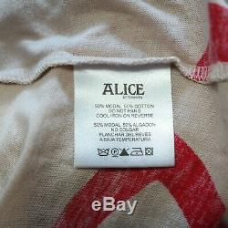 ALICE BY TEMPERLEY RED CREAM OFF THE SHOULDER MAXI DRESS SIZE Uk 8 (FIT 8-10)