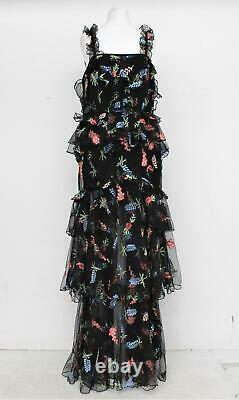 ALICE MCCALL Ladies Black Floral Embroidered Ruffled Tiered Maxi Dress UK12 BNWT
