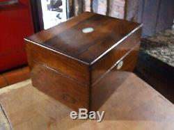 ANTIQUE ROSEWOOD VANITY BOX with FULL LENGTH DRAWER FITTED INTERIOR & MIRROR
