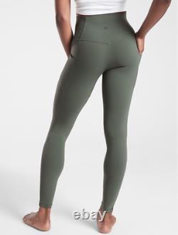 ATHLETA S Salutation Stash Pocket II Tight Leggings SMALL Bali Green FULL LENGTH