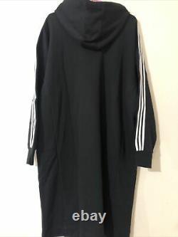 Adidas Black 3 Stripes Midi Long Hooded Hoodie Dress Oversized 10 Fits 12 14 16