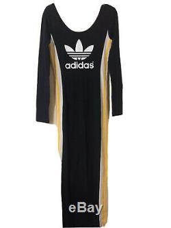 Adidas Rita Ora COSMIC Maxi Long Popper Bodycon Tracksuit Dress UK 16 Fits 12