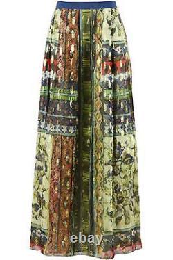 Alberta Ferretti Pleated Printed Silk Chiffon Maxi Skirt It 38 Uk 6
