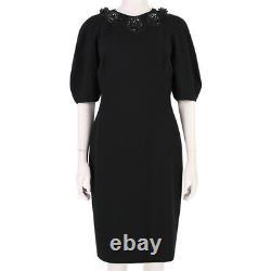 Alexander McQueen Black Enamel Rose Detailed Neckline Slim-Fit Dress IT42 UK10