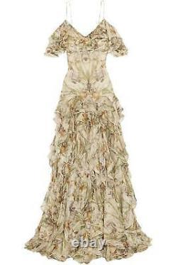 Alexander Mcqueen Cold Shoulder Ruffled Floral Print Silk Gown It 44 Uk 12