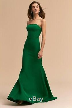 Anthropologie BHLDN Tess Dress Green Full Length Slim Fit Sz 8 Maxi Gown New