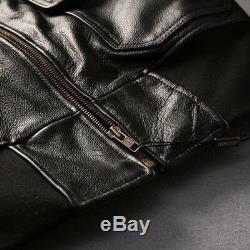 Avirex Fly Jacket Fur Collar Leather Floral Jacket Men Slim Fit Zipper Coat