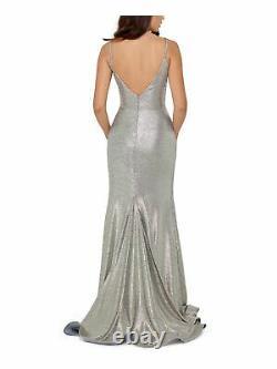 BETSY & ADAM Womens Gold Spaghetti Strap Full-Length Fit + Flare Formal Dress 10
