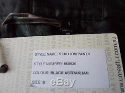 BNWT Faux Fur by UNREAL FUR Black Astrakhan Trousers Size S / Fit 8 10
