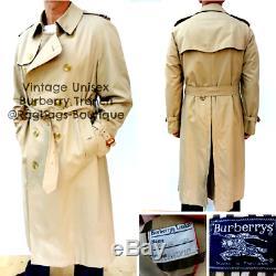 BURBERRY UNISEX Full Length VINTAGE MAC TRENCH COAT SIZE 54L Fits L/XL #3195