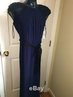 Badgley Mischka Navy Blue Fit And Flair Full Length Dress Sz 14