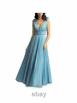 Basix Womens Light Blue Sleeveless Full-Length Fit + Flare Formal Dress Size 4