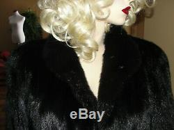 Beautiful Full Length Black Mink Fur Coat Fits Med X- Large