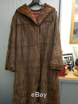Beautiful Ladies brown full length real fur coat Best fit size 18