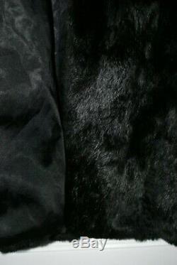 Beautiful Vintage Jet Black French Rabbit Full Length Fur Coat size fits 10/12
