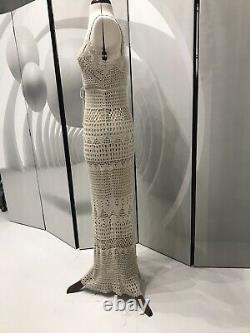 Beige Linea Crochet Knited Maxi Long Stretchy Dress Size S, (fits Upto 14)Lining