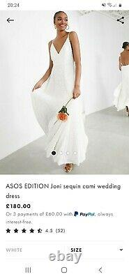 Brand New ASOS handmade sequin wedding dress size 8, will fit up to size 12