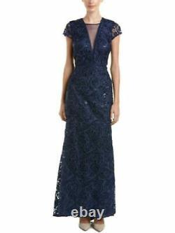 CARMEN MARC VALVO Womens Navy Full-Length Fit + Flare Evening Dress 14