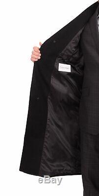 Calvin Klein Mens Classic Fit Solid Black Full Length Wool Blend Top Overcoat