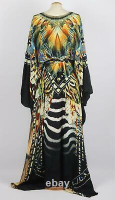 Camilla Belted Embellished Printed Silk Crepe De Chine Kaftan One Size