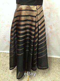Coast Black Bronze Evening Dress Sleeveless Fit Flare Aline High Low Occasion 10