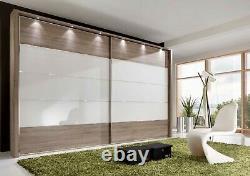 Designer German Luxury Sliding Wardrobe Bedroom Oak White Mirrored Fitted Free
