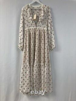 Doen white ruffle floral embroidered Faye dress in Colour Salt Size S fits XS