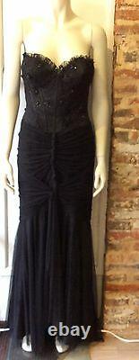 Dolce Jovani Black Strapless Evening Gown Size Us 8 Fits Uk 10