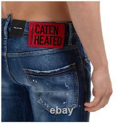 Dsquared2 jeans men knee patch S71LB0723S30663470 pants denims blue slim fit
