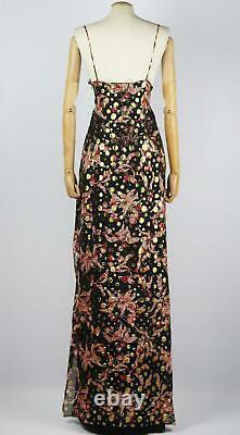 Dundas Lace Trimmed Printed Metallic Fil Coupé Silk Blend Maxi Dress It 46 Uk 14