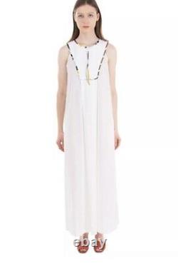 Emilio Pucci White Maxi Dress Zip 100% Cotton Tunic Kaftan IT40 Fits UK 8 10 NWT