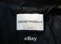 Emporio Armani Black Wool Coat Full Length Fitted Riding Style 8 10