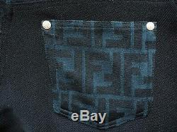 FENDI black blue jeans pants zucca monogram ladies vintage FF 28 29 strait fit
