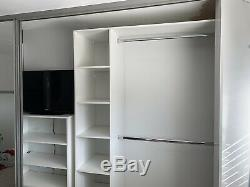 Fitted Wardrobes Kit, Sliding Glass Doors, Frosted Mirror, Shelves Hanging Grey