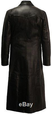 Full Length Real Leather Long Trench Coat Black Matrix Blade Soft Nappa Fitted