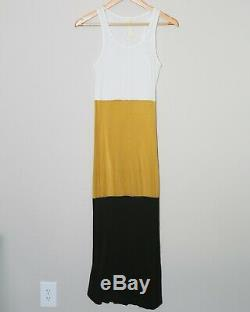 GILDA MIDANI Fitted Stretch Full Length Dress White/YellowithBlack Women's Small