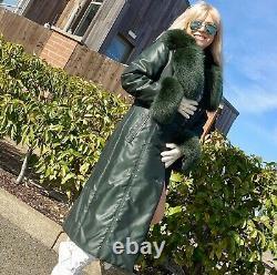 GREEN FOX FUR WINTER FITTED PUFFER PARKA COAT size M FAB