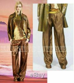 GUCCI PANTS IRIDESCENT BRONZE LAME RELAXED FIT TROUSERS $1,400 sz IT 38 / US 2