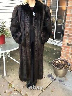 Genuine Ebony Beaver Full Length 50 Coat Fits Sz 8 14
