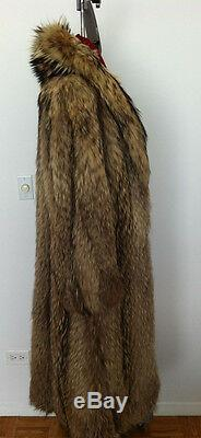 Genuine Racoon Finnish/tanuki Full Length Fur Coat From Macy's Fits Ladies 8-12