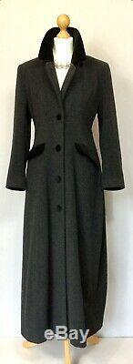 Grey Wool Black Velvet Full Length Fit Flare Riding Style Winter Coat Size 8 10