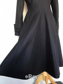 HOBBS Navy DELANEY Wool Military Fit And Flare Full Length Winter Coat Size 10