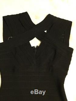Herve Leger Full Length Iconic Black Bandage Fitted Dress Size Small